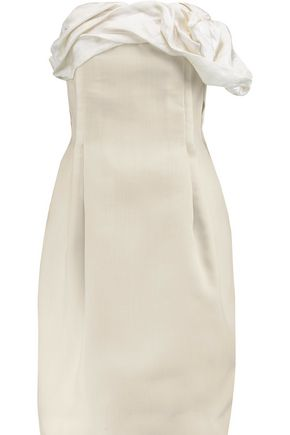 LANVIN Strapless ruffle-trimmed wool-blend dress