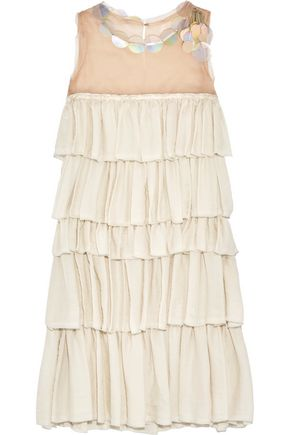 LANVIN Embellished tiered organza and washed-satin dress