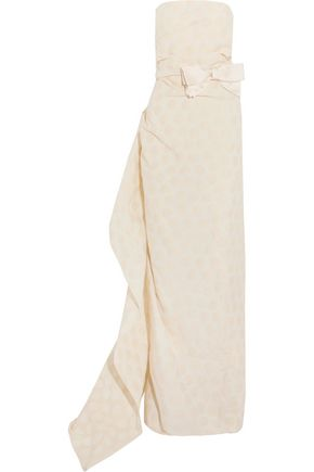 LANVIN Strapless draped polka-dot jacquard gown