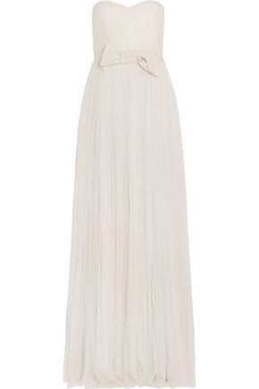 LANVIN Strapless bow-embellished lace gown