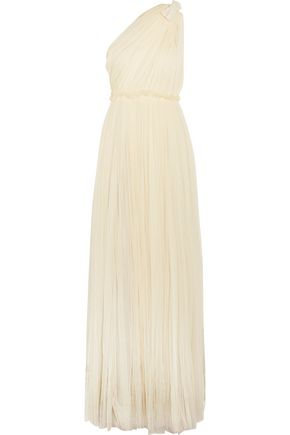 LANVIN One-shoulder embellished gathered silk-blend gown