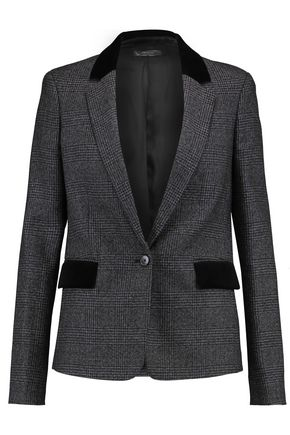 JOSEPH Velvet-trimmed Prince of Wales checked wool blazer