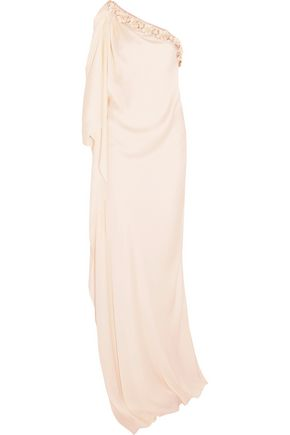LANVIN Embellished draped cloqué gown
