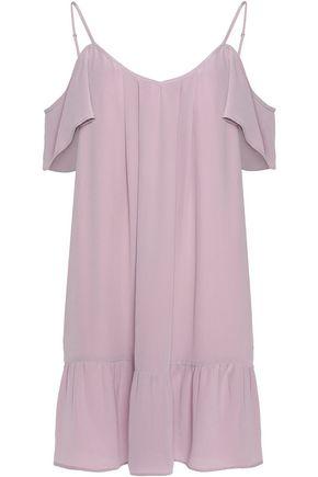 JOIE Stellara cold-shoulder ruffled washed-silk mini dress