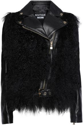 BOUTIQUE MOSCHINO Shearling-paneled leather jacket