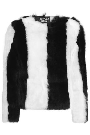 BOUTIQUE MOSCHINO Striped shearling jacket