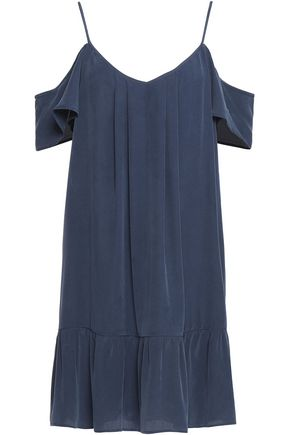 JOIE Stellara cold-shoulder ruffled washed-silk mini dress