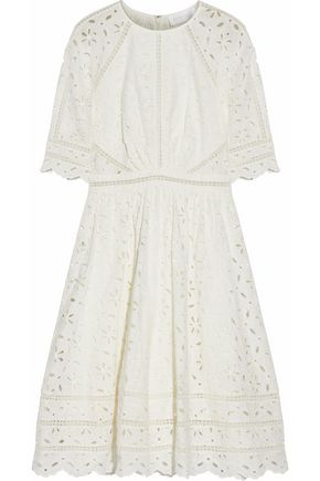 ZIMMERMANN Gathered broderie anglaise cotton dress
