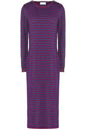 CARVEN Striped metallic merino wool-blend midi dress