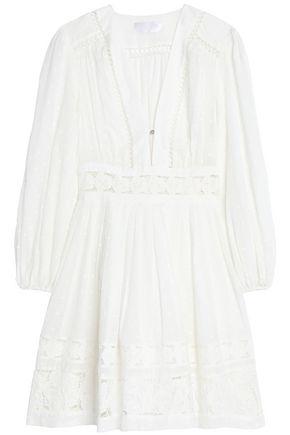 ZIMMERMANN Lace-paneled pleated Swiss-dot cotton mini dress