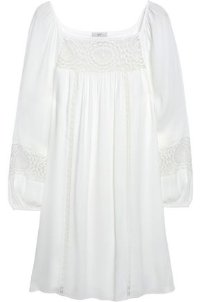 JOIE Tabara lace-paneled pleated crepe mini dress