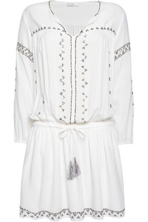 JOIE Laka embellished cotton-voile mini dress