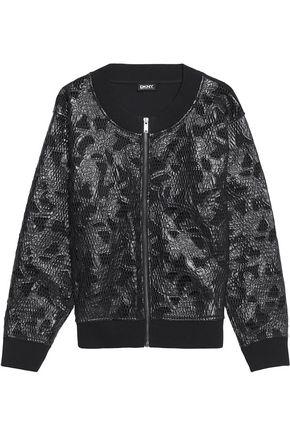 DKNY Jersey and appliquéd mesh jacket