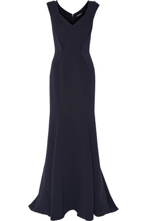 ZAC POSEN Pleated bonded crepe gown