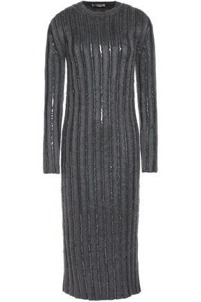 NINA RICCI Sequin-embellished wool-blend midi dress