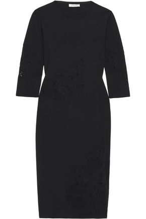 NINA RICCI Crochet-knit paneled wool midi dress
