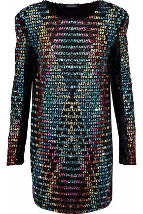 BALMAIN Sequined embellished tulle mini dress