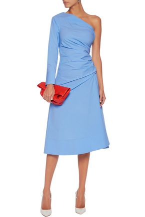 EMILIO PUCCI One-shoulder ruched cotton-blend dress