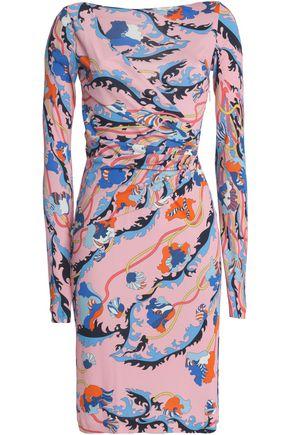 EMILIO PUCCI Draped printed stretch-knit dress