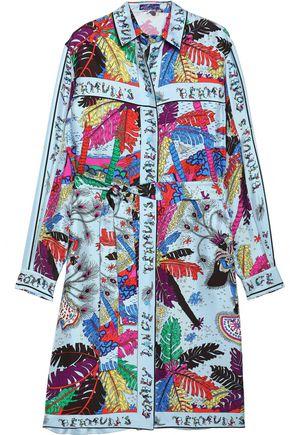 EMILIO PUCCI Belted printed silk satin-faille shirt dress