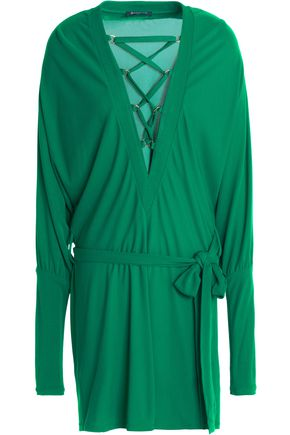 Balmain Lace-up Belted Batwing Dress, Emerald Green