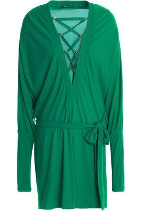 Balmain Dresses BALMAIN WOMAN LACE-UP CREPE MINI DRESS GREEN