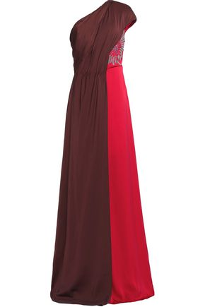 VIONNET Two-tone one-shoulder silk-blend gown