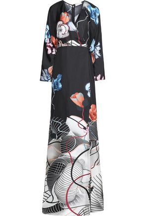 VIONNET Printed silk-twill maxi dress