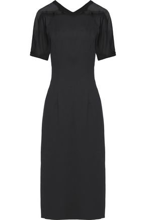 VIONNET Silk organza-trimmed wool-blend midi dress