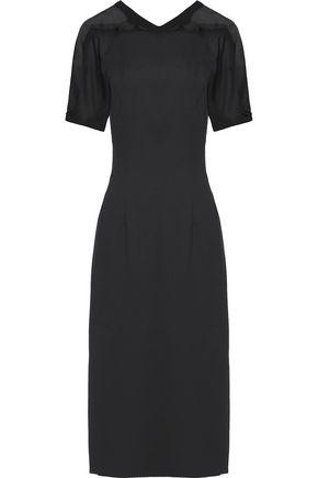 VIONNET Silk organza-trimmed wool-blend midi dress