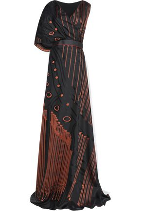 VIONNET Pleated chiffon-paneled silk-jacquard gown