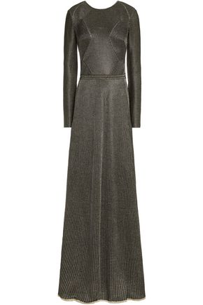 VIONNET Open-back metallic ribbed wool-blend dress