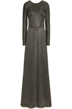 VIONNET Open-back metallic ribbed wool-blend dress
