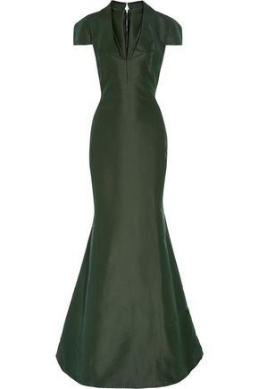 ZAC POSEN Layered flared silk-faille gown