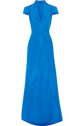 ZAC POSEN Flared silk-faille gown