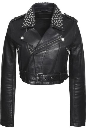MAJE Bloodya cropped studded leather biker jacket