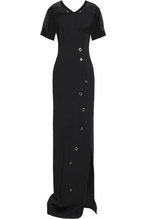 VIONNET Silk organza-trimmed stretch-crepe maxi dress