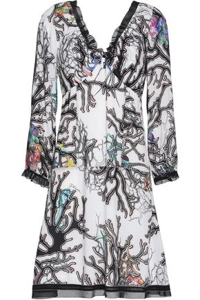 JUST CAVALLI Ruffle-trimmed printed voile mini dress