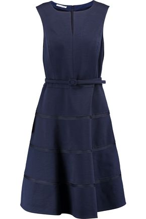 OSCAR DE LA RENTA Belted wool-blend twill dress