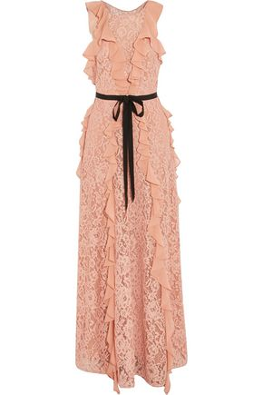 SACHIN & BABI Melody grosgrain-trimmed ruffled corded lace gown