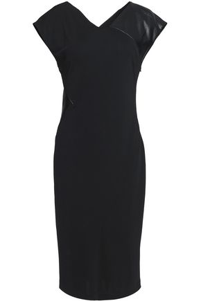 VIONNET Leather-trimmed crepe dress
