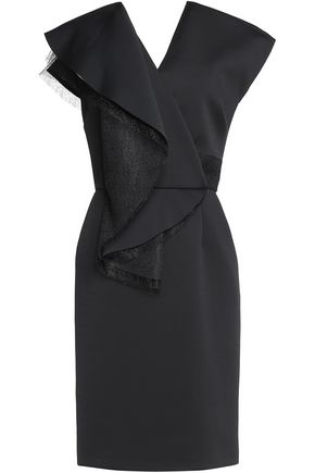 VIONNET Draped mesh-trimmed neoprene mini dress