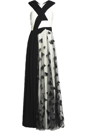 VIONNET Embroidered tulle and pleated chiffon gown