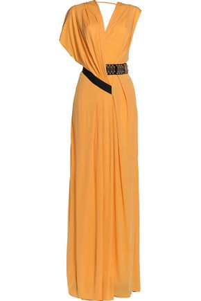 VIONNET Draped embellished stretch-jersey gown