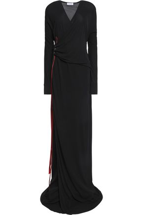 VIONNET Coated grosgrain-trimmed gathered jersey maxi dress