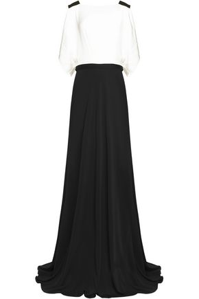 VIONNET Draped silk-blend satin and crepe maxi dress