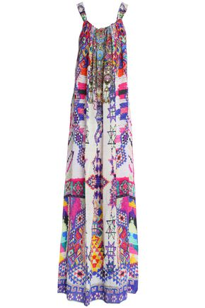 CAMILLA Embellished printed silk-georgette coverup