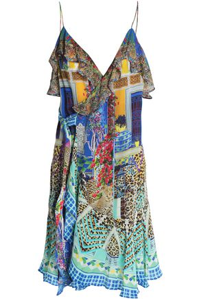 CAMILLA Embellished printed silk dress