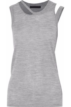 ALEXANDER WANG Asymmetric cutout wool-blend mélange jersey top