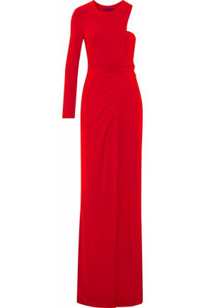 ALEXANDER WANG One-shoulder gathered crepe de chine gown